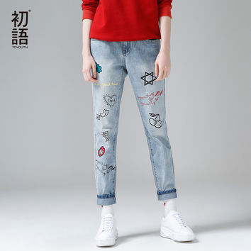 Toyouth Women Jeans Fashion Print Women Skinny Jeans Full Length Harem Pants Ladies Zipper Mid Waist XXL Size Loose Jeans