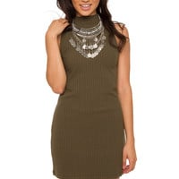 Line It Up Ribbed Dress - Olive