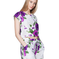 Kenia Purple Floral Crop Top and Shorts Matching Set