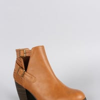 Qupid Perforated Cutout Ankle Bootie