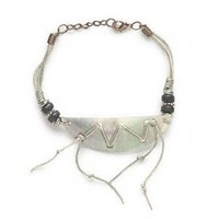 Adjustable Antiqued Brass Waxed Cotton Cord and Black Lip Shell Bracelet