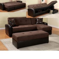 Chocolate Microfiber Storage Reversible Adjustable Sofa Set