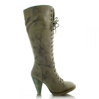 Marble colored low heel calf boots