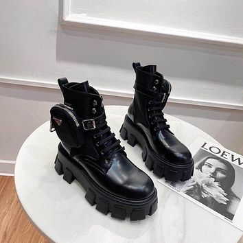 prada trending womens black leather side zip lace up ankle boots shoes high boots 29