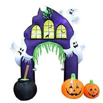 9 Foot Tall Halloween Inflatable Castle Archway with Pumpkins and Ghosts