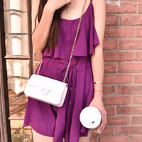 Purple Frilled Drawstring Strappy Romper