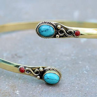 Turquoise brass armlet, upper arm cuff, brass arm cuff , gypsy armlet, arm band bracelet, adjustable,indian jewelry