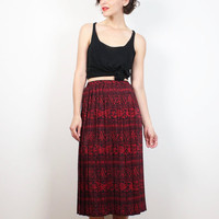 Vintage 80s Skirt Red Black Tribal Chevron Striped Midi Skirt Elastic High Waisted Accordion Pleated Midi Skirt 1980s Secretary XS S Small M