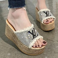 LV Trending Women Casual Stylish Rhinestone Thick Soles High Heels Sandals Slippers Beige