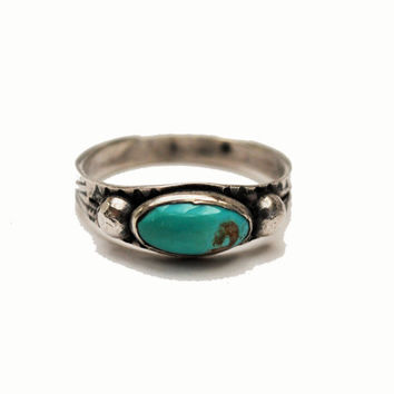 CIJ sale Turquoise silver ring size 7 southwestern Native American