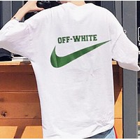 Nike & Off White New fashion letter hook print couple top t-shirt White