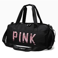 Victoria Pink New fashion sequin letter couple shoulder bag handbag Black