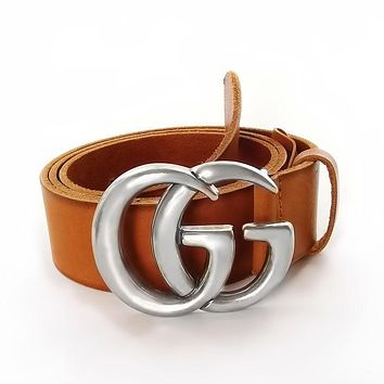 Authentic Brown Leather Gucci Belt w/Double G Buckle 406831-44 Size 100 / 40 New
