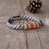 Gray orange rope bracelet - magnetic closure - contemporary jewelry - gift under 15