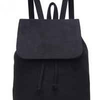TOO GOOD BLACK FAUX SUEDE BACKPACK