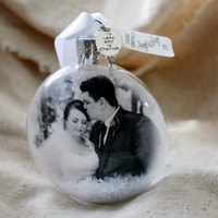 First Christmas Ornament First Married Christmas First Christmas as mr and mrs Newlywed Christmas Photo ornament glass ornament with picture