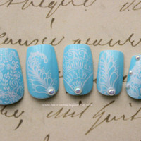Japanese Nail Art- Blue and White Chantilly Medium Large Size- Artificial Nails