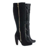 Mozza24 By Bamboo, Classic Knee High Zip Up Chunky Heel Boots