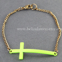 cross bracelet, Lime green cross bracelet, fluorescent green bracelet