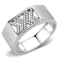 Mens Stainless Steel Rings DA285 Stainless Steel Ring with AAA Grade CZ