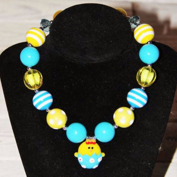 Easter Chick Bubblegum Necklace