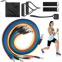 Gym Home Fitness Equipment Latex Resistance Band Multifunction Muscle Work Out Training Exercise 11 Piece Set Rally Rope