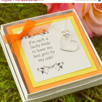Fathers Day Sale Bridesmaid Gift - Bridesmaid Jewelry - Bridesmaid Necklace - Maid of Honor Gift - Infinity Heart - Heart Pendant - Orange W
