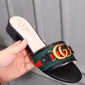 GUCCI tide brand female models wild horsebit buckle sandals with simple lazy slippers Black
