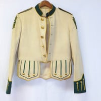Vintage Syria Shriners 50s 60s Marching Band Uniform Jacket Military Blazer Cropped Suit Coat Medium Preppy Equestrian Circus Ring Master