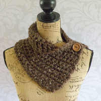 Ready To Ship Scarf Crochet Knit Brown Barley Button Cowl Women's Accessories Eternity Fall Winter