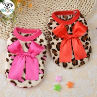 Cute Bow Leopard Small Dog Vest Winter Warm Soft Fleece Dog Clothes For Chihuahua Yorkie
