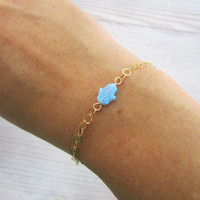 Hamsa (Hand) pendant on a hand bracelet (or anklet), light blue opal, gold filled, charm jewelry, 1 pcs