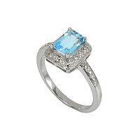 925 Silver 1.2ct Blue Topaz & Diamond Ring - Womens