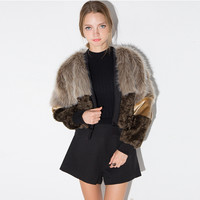 Brown Fur Spliced Crop Jacket