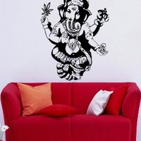 Ganesh Ganesha Elephant Lord of Success Hindu Hand God Buddha Indian Design Wall Vinyl Decal Art Sticker Home Modern Stylish Interior Decor for Any Room Smooth and Flat Surfaces Housewares Murals Design Graphic Bedroom Living Room (4152)