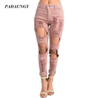 PADAUNGY Pink Ripped Jeans For Women Straight Pants Torn Night Clubwear Boyfriend Denim Trousers Plus Size High Waist Jeggings