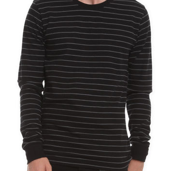 RUDE Black Charcoal Mill Striped Thermal | Hot Topic
