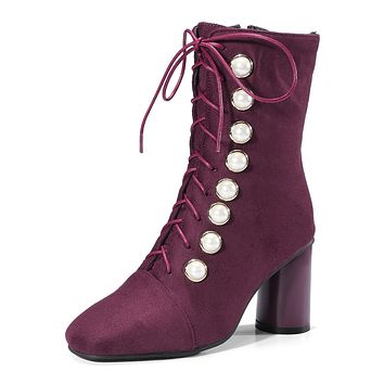 Lace Up Pearls Short Boots for Woman 8624