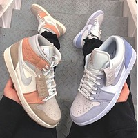 NIKE Air Jordan 1 Couple-style stitching color casual sneakers Shoes
