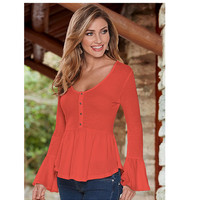 New Fashion Women's O Neck Flare Sleeve Shirts Tops Plus Size Solid Asymmetric Hem Blouses With Button Autumn Winter LX048