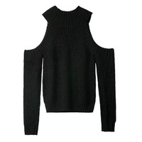 Leisure High-Necked Strapless Sweater 6 color Women Sexy Turtleneck Hollow out shoulder long sleeve Knitted Pullover Sweater