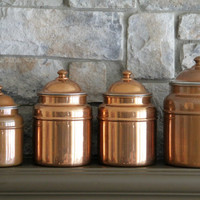 Copper Canisters, French Country Cans, Kitchen Canisters, Kitchen Storage,Craft Storage, Kitchen Decor, Set of 4 Canisters, Copper Kitchen,