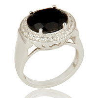 925 Sterling Silver Prong Set Black Onyx And White Topaz Cocktail Ring