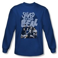 Saved By The Bell - Mens Retro Cast Long Sleeve Shirt In Royal