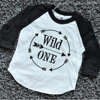 Wild One First Birthday Shirt Boy 1st Birthday Outfit Arrow Hipster Raglan Boy Clothes 025
