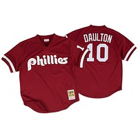 Mitchell & Ness Darren Daulton 1991 Authentic Mesh BP Jersey Philadelphia Phillies In Cardinal Red
