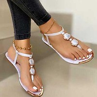 Womens Leather Sandals T-tied Low Heels Clip Toe Ladies Sandalias Ankle Strap New Beach Casual Female Shoes