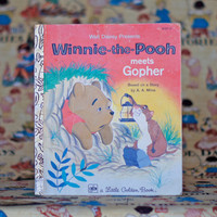 Winnie-the-Pooh meets Gopher Little Golden Book Walt Disney Vintage Picture Story Book Children's Book Illustrations Nursery Decor