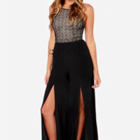 Strap Out Of It Backless Black Lace Jumpsuit