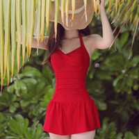 New 2014 Sexy Plus Size Swimwear Skirted Cute One Piece Swimsuit Conservative Swimsuits Push Up Women Bathing Suit M L XL XXL = 1958224644